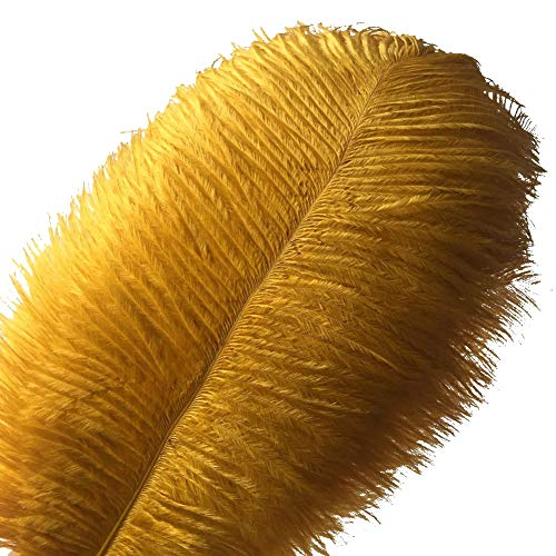 Sowder 10pcs Ostrich Feathers 12-14inch(30-35cm) for Home Wedding Decoration(Golden) -