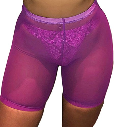 FULA-bao Women Sexy Perspective Mesh Sheer Swim Shorts Pants Bikini Bottom Cover up (Purple, L)