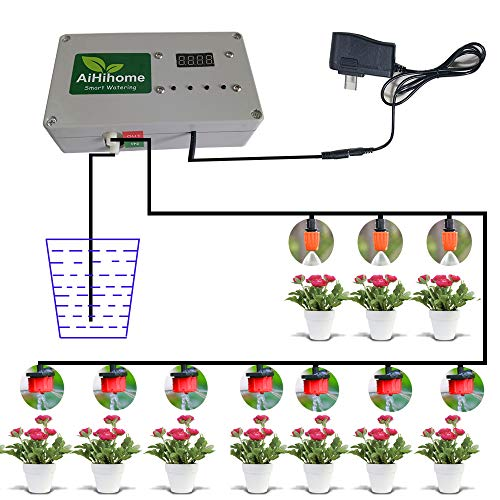 (AiHihome Automatic Watering System Indoor Plant Auto Watering - By DIY Timer Irrigation Controller Watering for Garden Flower Plant)