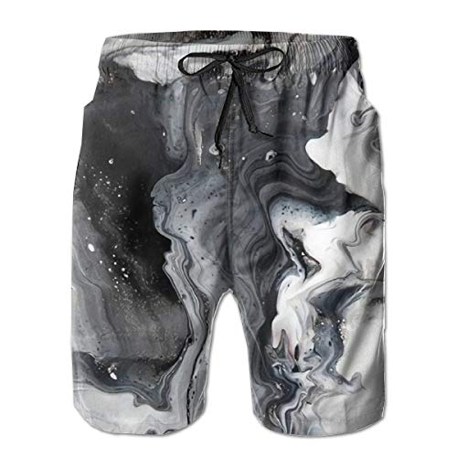 (Geometric Waves Men's Quick-Drying Bathing Suit Full-Width Swimwear Printed Beach Summer Swimming Shorts Trunk)