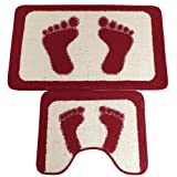 2 Piece Feet Design Bathroom Bath & Pedestal Mat/Rug Set (5 Colors) (See Description) (Red)