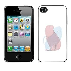 Caucho caso de Shell duro de la cubierta de accesorios de protección BY RAYDREAMMM - Apple iPhone 4 / 4S - Art Pink Blue Painting Love