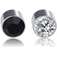Stainless Steel Fake Magnetic Crystal Ball Ear Stud, Non Piercing