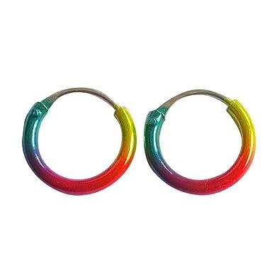 Sterling Silver 925 Anodised Coloured Hoop Sleeper Earrings (12 MM) wuxjthw9ex