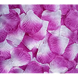 Ewandastore 1000 Pcs Fabric Silk Artificial Flower Rose Petals Wedding Favor Bridal Party Vase Decoration Table Confetti(Purple White) 60