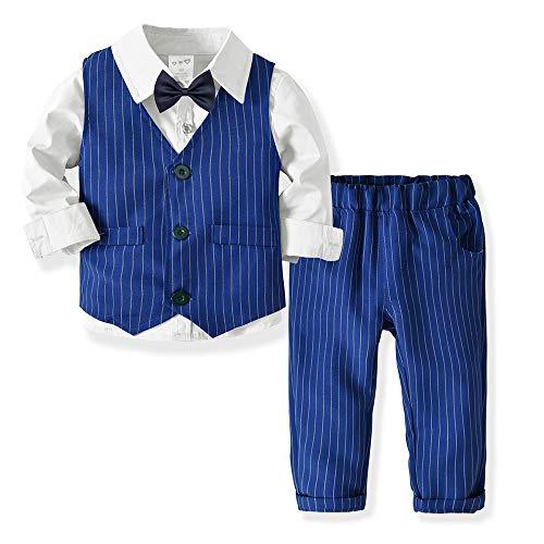 (Kids Boy Formal Suit Long Sleeve Shirt with Bow Tie + Waistcoat + Long Pants 4Pcs Outfits Set (Stripe Blue 18-24Month))