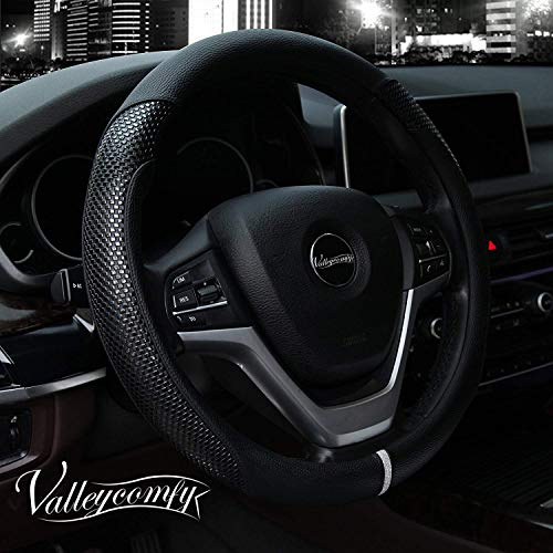 - Valleycomfy Steering Wheel Cover with Microfiber Leather for Car Truck SUV 15 inch (Style-Black)