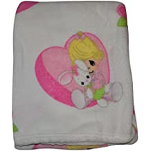 Precious Moments Super Soft and Warm White Baby Blanket Girl Hugging Bunny In Heart