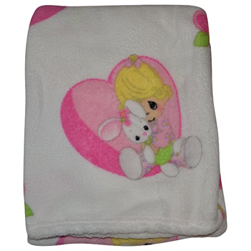 Precious Moments Super Soft and Warm White Baby Blanket Girl Hugging Bunny in Heart - Precious Moments Apparel