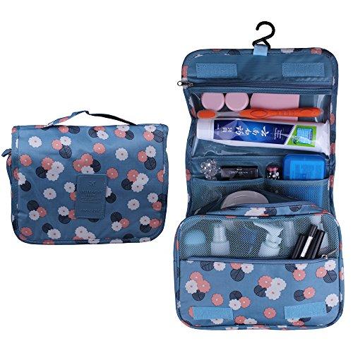 Shopper Joy Nylon Kulturtasche Kulturbeutel zum Anhängen Kosmetiktasche Waschtasche Reisetasche für Damen Herren für Reise Zugreise Camping Outdoor Aktivitäten - Blaue Blümchen