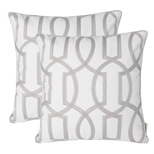 Throw Pillow Covers Fabric - Mika Home Pack of 2 Embroidery Geometric Links Accent Decorative Throw Pillow Cover Sofa Cushion Case for 18X18 Inserts Cotton Fabric Grey White