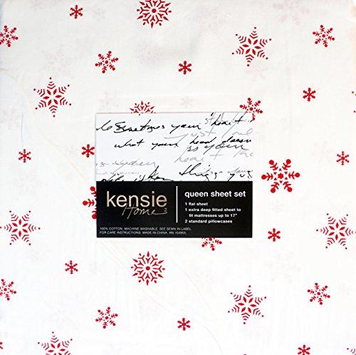 Kensie Bedding 4 Piece Cotton Sheet Set Red Geometric Winter Festive Scandinavian Snowflakes on White (Queen) -