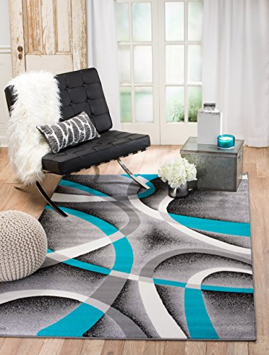 Summit 64-UUIC-C2TL 35 Turquoise Grey Area Rug Modern Abstract Many Sizes Available  (4 x 7'.2