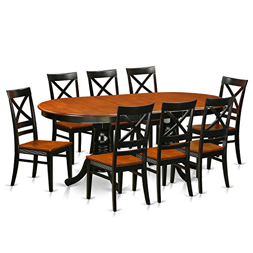 9 PC Dining set-Dining Table with 8 Wooden Dining Chairs