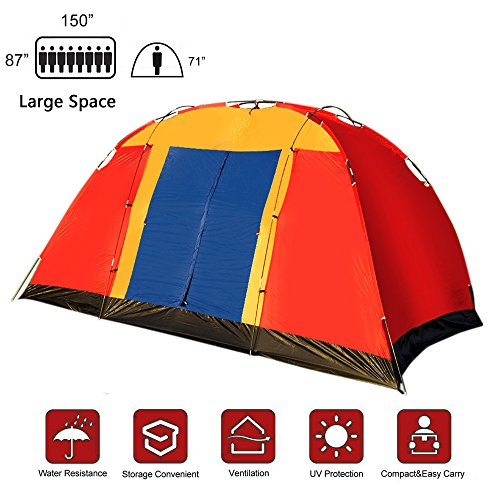 Lucky Tree Outdoor 8 Persons Easy SetUp Family Large Tent for Traveling Camping Hiking with Portable Bag Blue …