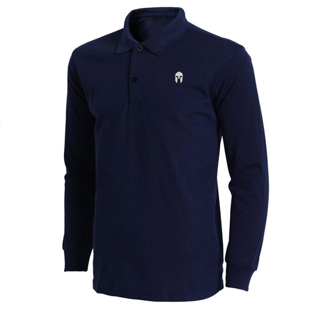 Mens Spartan Warrior Molon Labe Embroidered Long Sleeve Polo Shirts