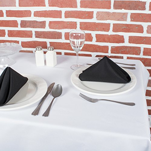 E-Living Store Polyester Commercial Quality Heavy Duty Cloth Napkins (18x18-inch) for Restaurant or Home Table, Bulk Set of 12, Black by E-Living Store (Image #3)'