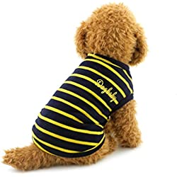 SMALLLEE_LUCKY_STORE Small Dog Clothes Doggy Shirts Pet Stripe Apparel Puppy Costume, X-Large, Yellow