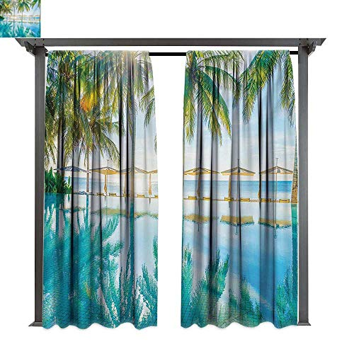 Marina Lea Indoor/Outdoor Single Panel Print Window Curtain, Pool by The Beach with Seasonal Eden Hot Sunny Humid Coastal Bay Photography, Keep Warm Draperies (W84 x L84 Inches Green Blue)