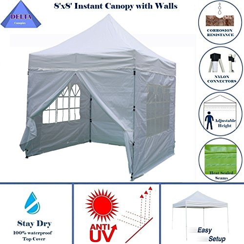 8'x8' White - EZ Pop up Canopy Party Tent Instant Gazebo 100% Waterproof Top with 4 Removable Sides - By DELTA Canopies