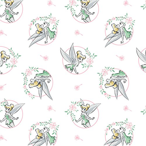 Disney Tinkerbell Floral Frame in White Fabric by the Yard (Tinkerbell Fabric)