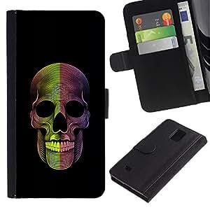 Billetera de Cuero Caso Titular de la tarjeta Carcasa Funda para Samsung Galaxy Note 4 SM-N910 / Skull Death Metal Rock Black / STRONG