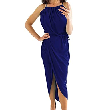 Lolittas Summer Maxi Dresses for Women, Sexy Peplum Halter Prom Party Cocktail Tunic Swing Split