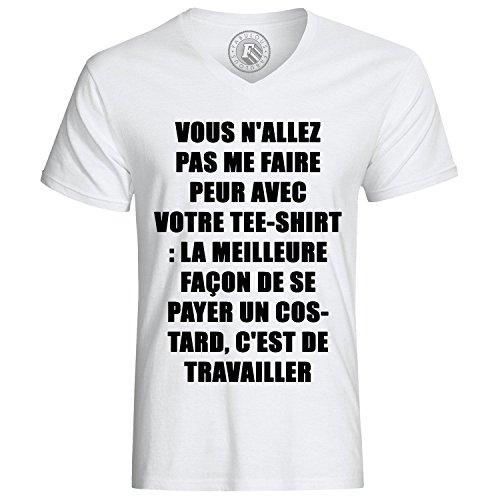 T-shirt emmanuel macron vous n allez pas me faire peur avec votre T-shirt la meilleure facon de se payer un costard c est de travailler