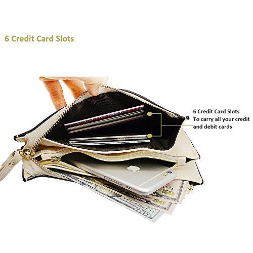iPhone 6 Deer Beige Wrist slots Soft 8 Cash Wallet Wristlet Fit Clutch Smartphone Befen pocket Wristlet 7 With Tassels Plus Card Cute Exquisite Strap UqB1P8Z