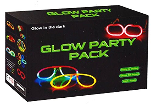 (Loftus Glow in the Dark Party Pack Favor Supply for Glowing Event Fun, 100-plus Design Pieces make Multiple Shapes, Colors Yellow Pink Purple Green Orange Blue and Red, 1 Value)