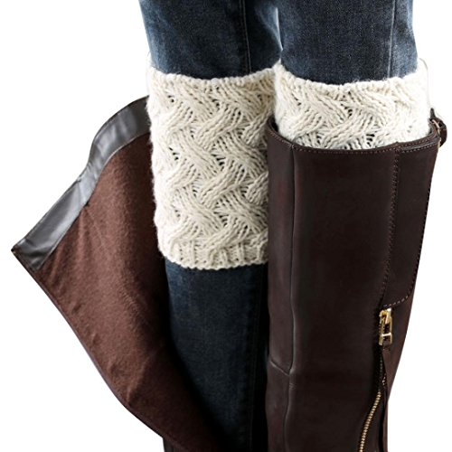 Coromose® 2015 Women Knitted Hollow Out Twill Leg Warmers Socks (Winter-White) -