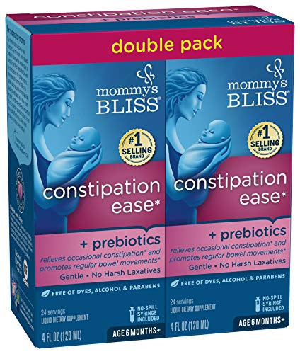 Mommy's Bliss Constipation Ease + Prebiotics, 4 Ounce Bottle (Pack of 2) (Best Way To Ease Constipation)