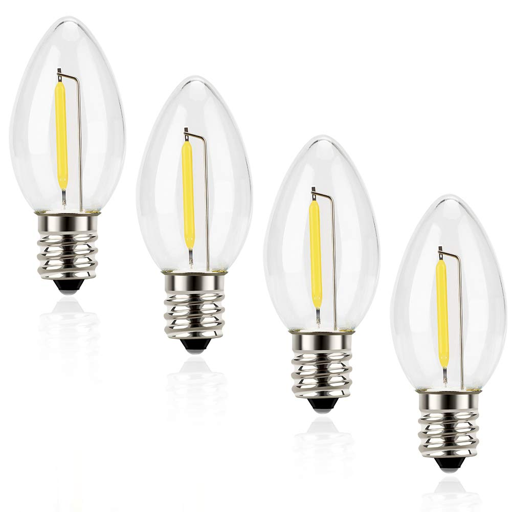 Night Light Bulbs Emotionlite C7 Candelabra LED Light Bulbs E12 Chandelier Base 4W 5W 6W 7W Incandescent Equivalent Warm White 2700K Clear UL Listed 4 Pack