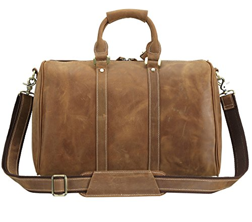 Polare Full Grain Leather Classic Duffel Bag Travel Gym Weekend Bag 17.3'' by Polare (Image #3)