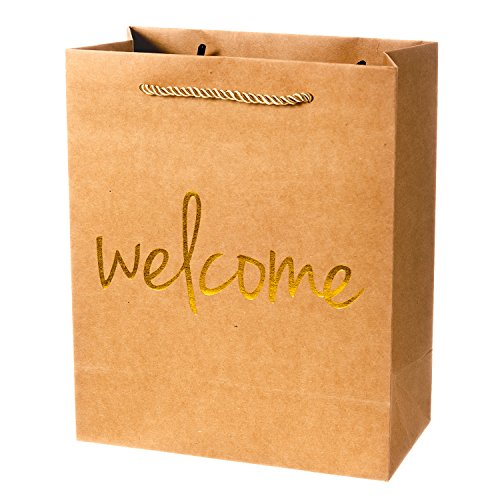 Crisky Welcome Gift Bags 25 Pcs Wedding Welcome Bags for Hotel Guests Shopping Bags Party Bags Gift Bags Retail Bags, 4x8x10 inch -