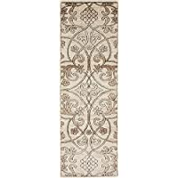 Carved Vintage 2 feet by 6 feet (2 x 6) Runner Himalaya Dark Beige Area Rug