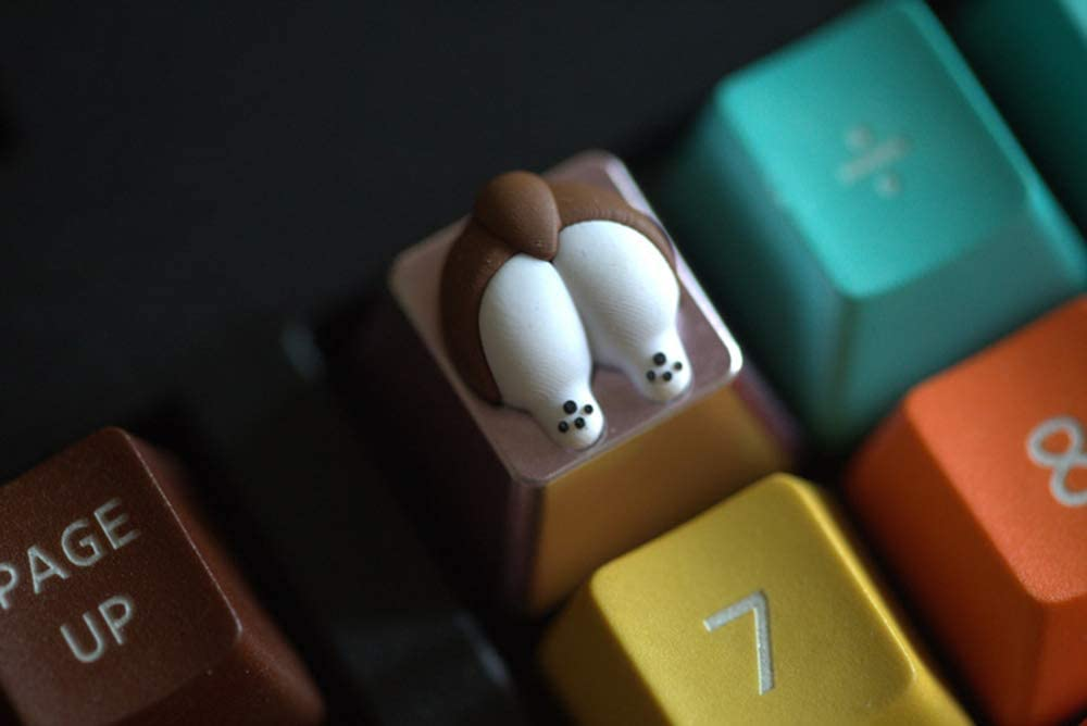 Cute /& Funny Keycaps Creative Design Aviation Aluminium-Alloy /& BPA Free Silicone for Mechanical Gaming Keyboards Dog Corgi Butt Keycap