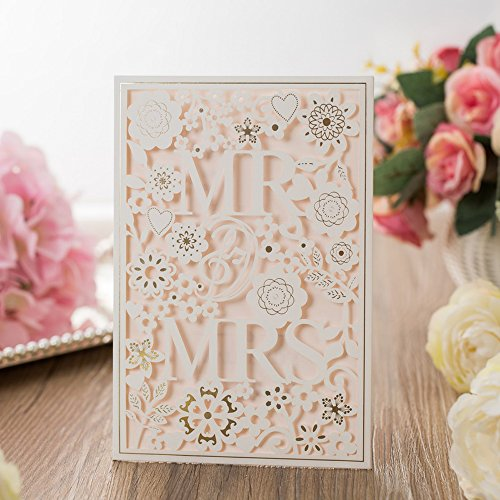 50PCS Paper Laser Cut Bronzing Wedding Baby Shower Invitation Cards with Flower Hollow Favors Invitation Cardstock for Engagement Birthday Graduation (MR AND MRS)