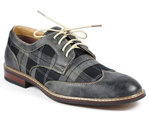 Men's Ferro Aldo 19266A Distressed Wing Tip Plaid Print Lace Up Dress Oxfords Shoes, Grey, 9.5