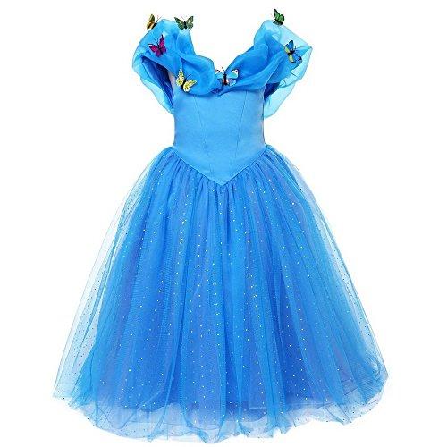 Little Girls Princess Cinderella Dress Sling Off Shoulder Sleeveless Costume Dress with Butterflies (8-9 Years)