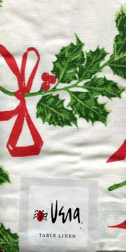 (Vera Neumann Christmas Holly Print Set of 4 Cloth Napkins)