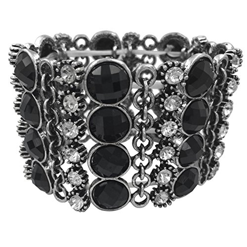 Gypsy Jewels Designer Look Silver Tone Stretch Bracelet (Chain Link Black dot with Clear)