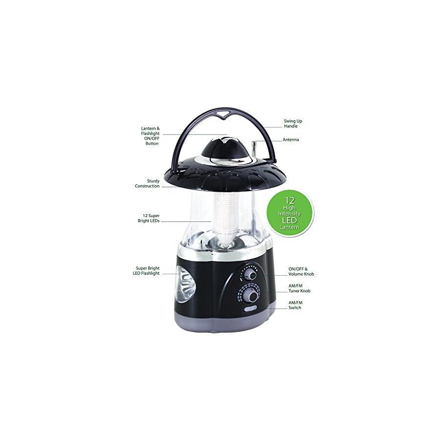 Northpoint 12 LED Lantern with 4 LED Flashlight and AM/FM Radio