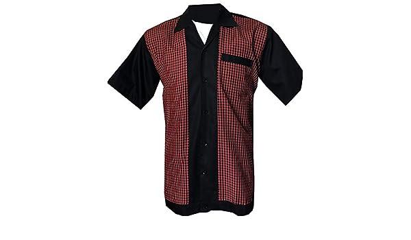 Camisa Rockabilly para Hombre, Estilo Retro, Estilo Vintage Negro, Rojo 3XL: Amazon.es: Ropa y accesorios