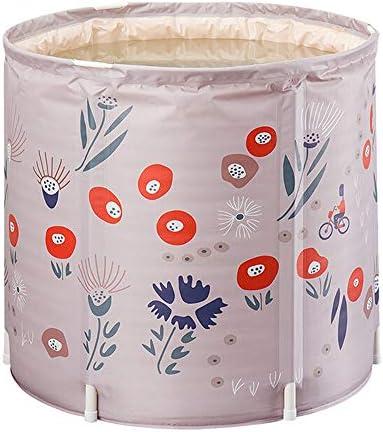 浴槽 折り畳み式の大人のバースバレルベビースイミングバレル屋内プラスチックバスタブバスタブ入浴バレル花や植物ピンク 大人用家庭用 (Color : Pink, Size : 70x65cm)