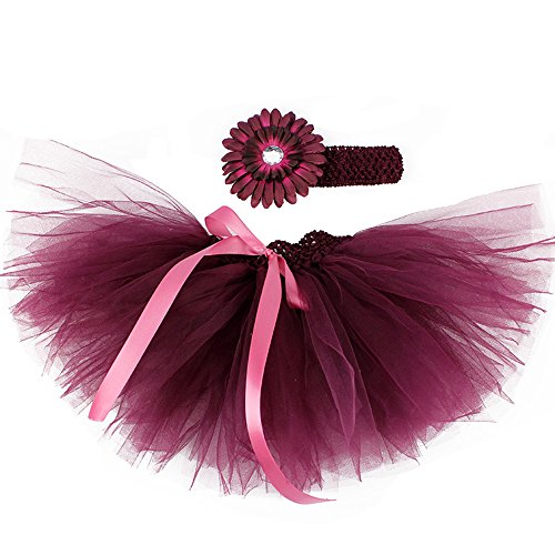 Infant Baby Girls Tutu Skirt with Flower Headband Set Newborn Photography Props (Burgundy) (Crocheted Girls Dress)