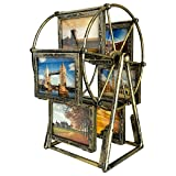 XBEEK Rotating Ferris Wheel Photo Frame, 12 Photos Shows for 3.5x5in Photographs, Multiple Vintage Picture Frame with Glass Front, Fit for Desk Table Top