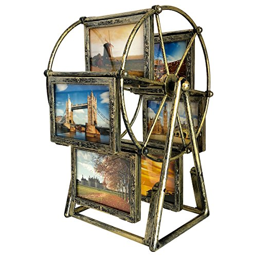 XBEEK Rotating Ferris Wheel Photo Frame, 12 Photos Shows For 3.5x5in Photographs, Vintage Retro Picture Frame, Multiple Picture Frames With Glass Front, Fit for Stands Vertically on Desk Table Top