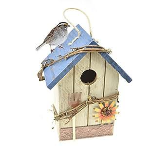 FLAdorepet - Caja de madera para nido de pájaros, diseño vintage, decoración para jardín o patio
