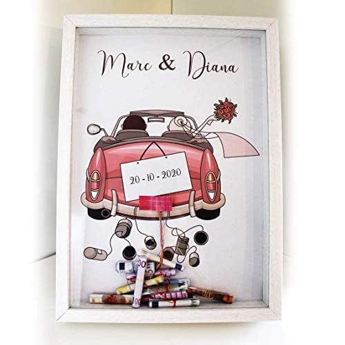 Didart Handmade Cuadro para bodas para regalar dinero. Personalizado. Modelo coche rosa. Varios modelos a elegir. Tamaño A4.Hecho en España